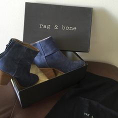 rag & bone Classic Newbury Booties Bootie in Denim rag & bone Classic Newbury Booties Bootie in Denim -sold out everywhere!  - size 38 Approx 90mm/ 3.5 inch heel. Hidden back zip closure. Style #2248039P navy canvas beautiful collection. Retails 475 rag & bone Shoes Ankle Boots & Booties