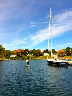 Beautiful New England Fall day in October for stand up paddling in Manchester by-the-Sea.