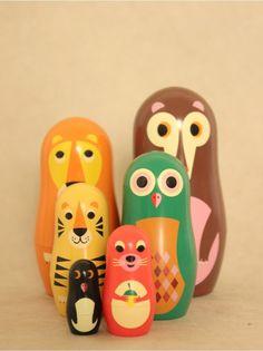 Matryoshka Animal Nesting Dolls, Set by Ingela Arrhenius, Bimbily.