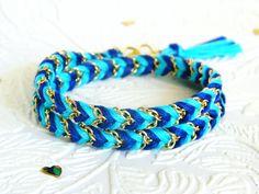 Neon Capri Blue & Rich Navy - Chevron Braided Double Wrap Modern Friendship Bracelet - Gold Chain. $13.00, via Etsy.