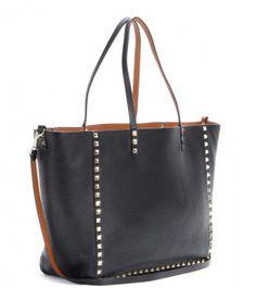 Valentino Rockstud Reversible Leather Shopper in Black
