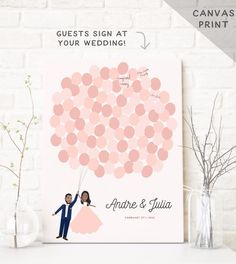 Custom canvas guest book alternative with illustrated couple portrait See more here: https://www.etsy.com/listing/195413667/canvas-wedding-guest-book-balloon-bunch?ref=shop_home_active_16