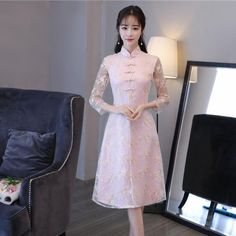 Traditional Chinese Half Sleeve Cheongsam. 2018 New Ao Dai Chinese Vintage  style Lace Cheongsam Improved Daily National Wind Retro Qipao Dress Slim  Female ... 91356103b5a8
