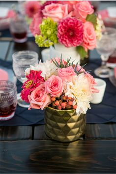 Pink and Gold Wedding.  Pinned  by Afloral.com from http://styleunveiled.com/monte-de-oro-is-a-beautiful-temecula-wedding-venue/ ~Afloral.com has high-quality pink faux flowers and gold vases for your DIY wedding on a budget.
