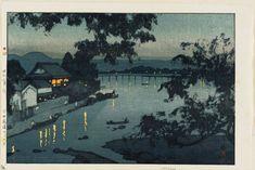 「日田筑後川の夕」Chikugo River - 昭和2(1927)年