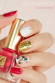 Floral nails, mix'n'match nail art with estee lauder pure red #nails Click through for manicure details!