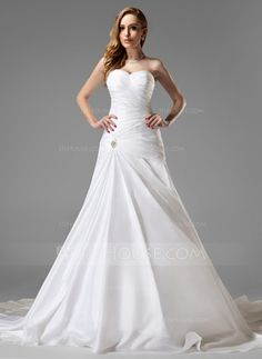 A-Line/Princess Sweetheart Chapel Train Taffeta Wedding Dress With Ruffle Crystal Brooch (002004225)