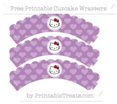 Free Pastel Light Plum Heart Pattern  Hello Kitty Scalloped Cupcake Wrappers