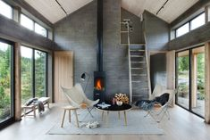 Winter hide out Photo by ingermariegrini via designmilk- interior, design, minimal Modern Interior Design, Interior Architecture, Interior And Exterior, Gray Interior, Modern Interiors, Modular Homes, Home And Living, Small Spaces, Living Spaces