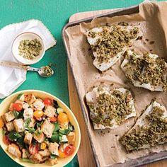 Olive and Pesto-Crusted Cod Recipe | MyRecipes.com