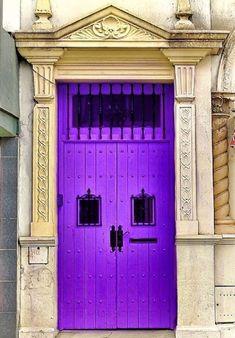 Punta Alta, klBuenos Aires, Argentina Cool Doors, Unique Doors, Stairs And Doors, Windows And Doors, Entrance Doors, Doorway, Purple Door, Knobs And Knockers, Door Sets