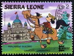 SIERRA LEONE - CIRCA A stamp printed in Sierra Leone shows Mickey Mouse as a Canadian Mountie and Provincial Legislature building [British Columbia] Canadian landmark, circa 1987 Mickey Mouse Art, Mickey Mouse And Friends, Vintage Comic Books, Vintage Comics, Stamp World, Canadian History, Stamp Printing, Disney, Comic Book Covers