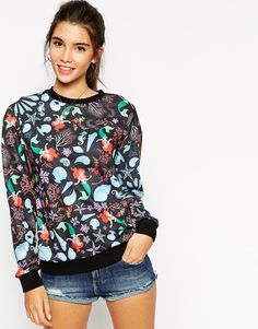 ASOS Sweatshirt with All Over Little Mermaid Print