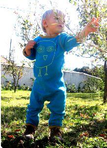 Combinaison longue bébé coton bio équitable motif hibou #combinaisonbébéhibou