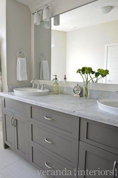 Love these Gray Bathroom Cabinets! Would look great in my master bathroom if I g. - Love these Gray Bathroom Cabinets! Would look great in my master bathroom if I got rid of the sink, - Grey Bathroom Cabinets, Veranda Interiors, Bathroom Decor, Bathroom Remodel Master, Grey Bathrooms, Grey Cabinets, Grey Bathroom Vanity, Bathroom Design, Contemporary Bathroom