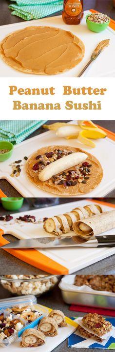 #Peanut Butter Banana Sushi #healthy #dessert #recipe for #kids