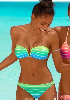 Bikinis von VENICE BEACH mit trendigem Streifendessin in knalligen Neonfarben.  Top mit herausnehmbaren Cups und abnehmbaren Trägern. Seitliche Stäbchen für einen perfekten Halt. Im Nacken zu binden und im Rücken zu schließen. Bikini gefüttert.  Aus 80% Polyamid, 20% Elasthan (LYCRA®). Futter aus 100% Polyester....