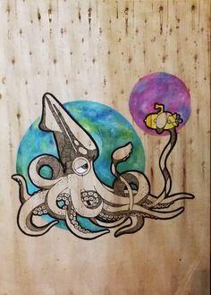 Cuadro Calamar, dibujo (De LM decoración)