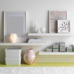 LACK white high-gloss wall shelves