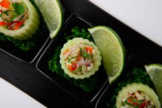 From Elegant Affairs' clean eating menu, cilantro lime-infused crab salad cucumber cups make for a light, refreshing...
