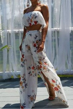 Floral Crop Top Split Pants Two Piece Set - Ivory