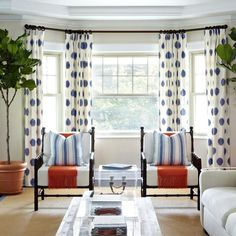 HGTV features a transitional neutral living room with chic polka dot curtains and black bamboo armchairs. Dining Room Curtains, Bay Window Curtains, Curtains Living, Room Window, Hang Curtains, Dining Chairs, Luxury Curtains, Yellow Curtains, Ikea Curtains