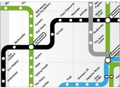 'Rock N' Roll' Map: Everyone is doing subway maps these days, but nonetheless this is a cool take showing Rock & Roll.
