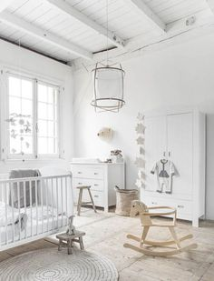 To Create A New Baby Capsule Wardrobe Stunning white nursery with storage ideas.Stunning white nursery with storage ideas. Baby Bedroom, Baby Boy Rooms, Baby Room Decor, Baby Boy Nurseries, Baby Cribs, Nursery Room, Kids Bedroom, Nursery Decor, Kids Rooms