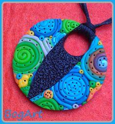 Butterfly pendant in polymer clay by Boglarka Balinth