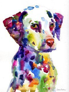 Colorful Dalmatian puppy dog portrait art Painting