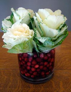 White kale and cranberries centerpiece