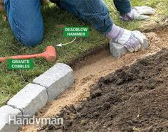 Cheap And Easy Landscaping Ideas | Build a Brick Pathway in the Garden. Edging for the cutting bed and herb bed.
