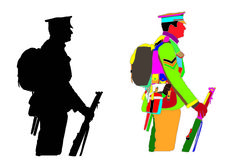 After completing my soldier line drawing, I used Different colours for the soldier because I needed to know what shapes was on top of others.