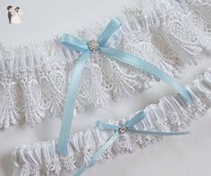 White Lace Garter Set with Light Blue Ribbon Bow and Crystal Finding - Bridal garters (*Amazon Partner-Link)