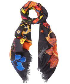 Black Winter Fruits Print Wool Scarf, Liberty London....wow