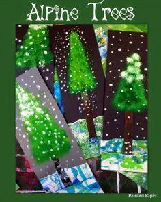 Alpine Trees Winter Art Project