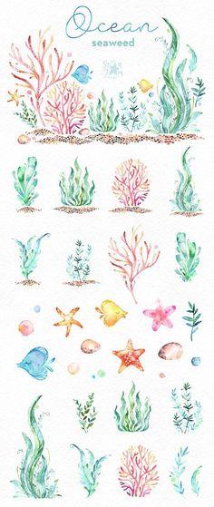 Océano. Algas marinas. Prediseñadas de acuarela bajo el agua #watercolorarts