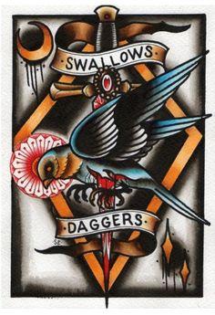 Simon Erl Swallows & Daggers Tattoo Flash | KYSA #ink #flash #tattoo