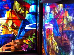 Spectacular stained glass window after the famous painting by Juan machicado