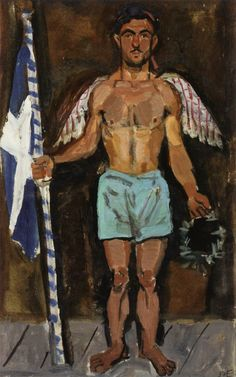 Yannis Tsarouchis / Evgenios Spatharis as an angel at the apotheosis of Athanasios Diakos 1948 Greece Painting, Hellenistic Period, Queer Art, Painter Artist, Post Impressionism, Art Database, Classical Art, Gay Art, Figurative Art