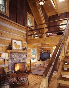 Cozy cabin interiors in Tiny Log Cabins, Log Cabin Homes, Cabins And Cottages, Mountain Cabins, Barn Homes, Winter Cabin, Cozy Cabin, Cozy Winter, Cabin Loft