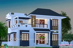 22 Small Mediterranean House Plans 1744 square feet modern home with 4 bedrooms 3 Storey House Design, House Roof Design, Two Story House Design, Bungalow House Design, 4 Bedroom House Designs, 4 Bedroom House Plans, Dream Bedroom, Modern Small House Design, Contemporary House Plans