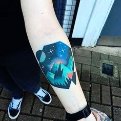 Tattoo by David Cote @thedavidcote #space #color #unique #mountain