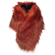 Dries Van Noten Feathered Wrap Faux Fur Scarf (£430) ❤ liked on Polyvore featuring accessories, scarves, arancione, wrap shawl, feather scarves, fake fur shawl, dries van noten scarves and dries van noten