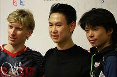 Konstantin Menshov(Russia) Denis Ten(Kazakhstan) and Tatsuki Machida(JAPAN)