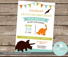 DINOSAUR INVITATION Baby Shower Bunting by littlebirdieprints, $15.00