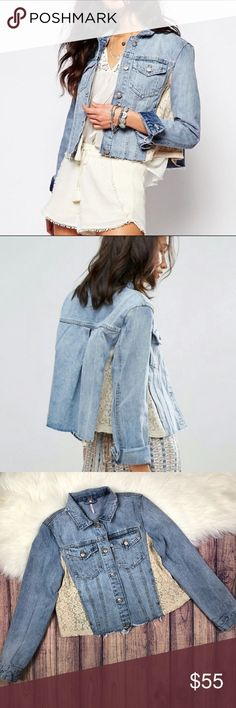 "Free People Lace Paneled Denim Jacket Size small Armpit to armpit: 19"" Length from shoulder to bottom hem: 19"" This denim jacket is in great condition, no flaws at all. This jacket is a little bit lighter In person than in pictures. See pictures for details. Free People Jackets & Coats Jean Jackets"