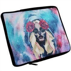 Halloween Day of the Dead Sugar Skull Girl Rain iPad Tablet Sleeve