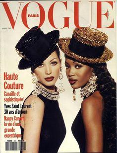 Naomi Campbell et Christy Turlington pour le numéro de mars 1992 de Vogue Paris
