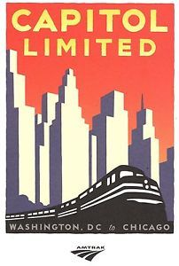 Amtrak Michael Schwab Collector Poster Capitol Limited Train 24 ...